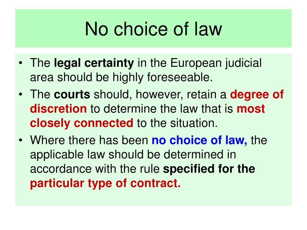 No choice of law
