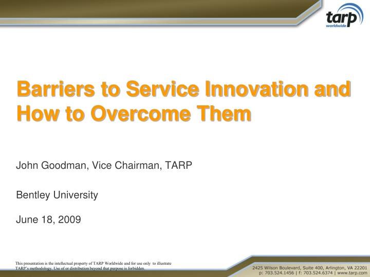Barriers to service innovation and how to overcome them