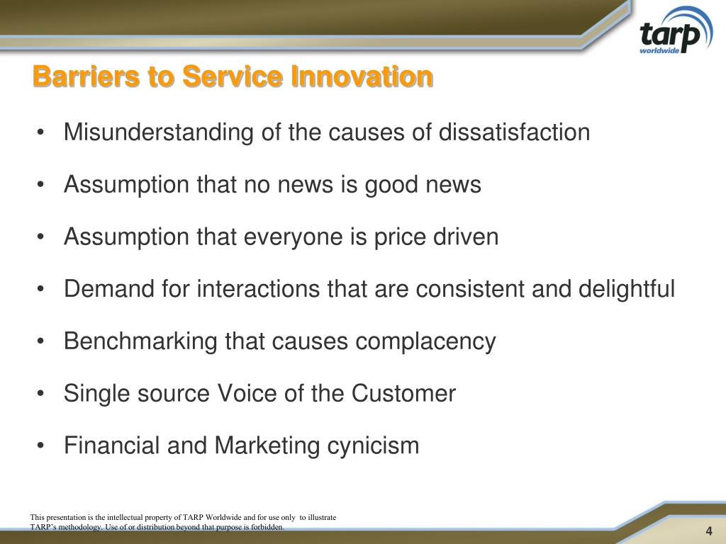 Barriers to Service Innovation