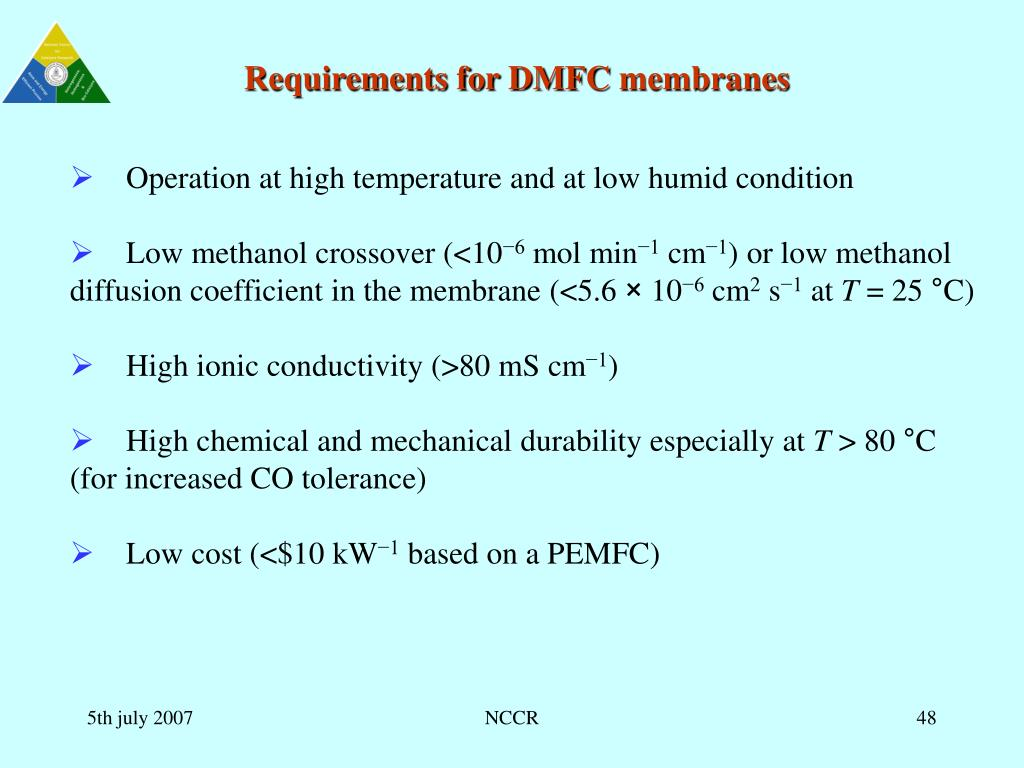 Requirements for DMFCmembranes