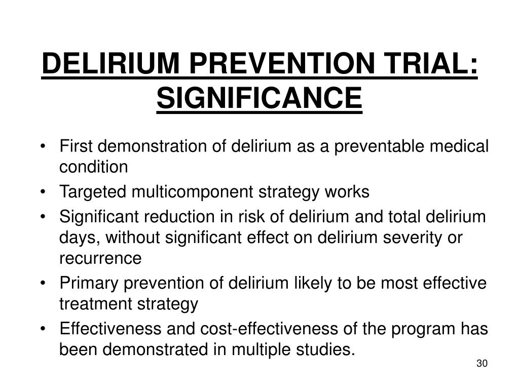 DELIRIUM PREVENTION TRIAL: