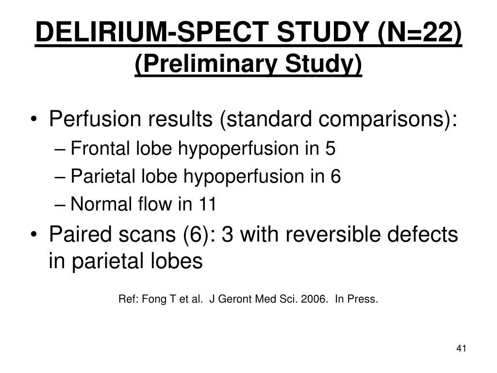 DELIRIUM-SPECT STUDY (N=22)