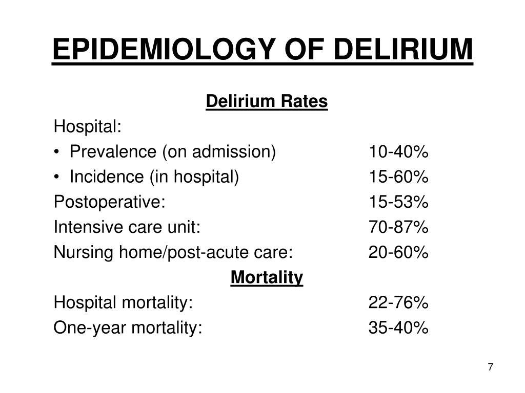 EPIDEMIOLOGY OF DELIRIUM