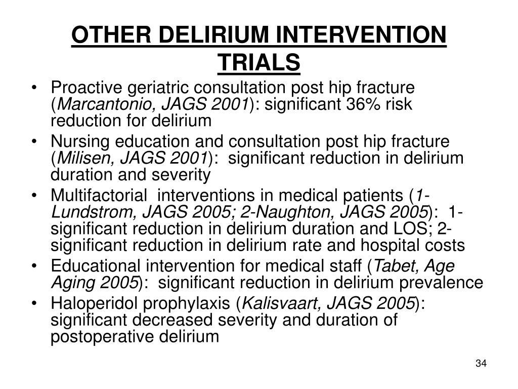 OTHER DELIRIUM INTERVENTION TRIALS
