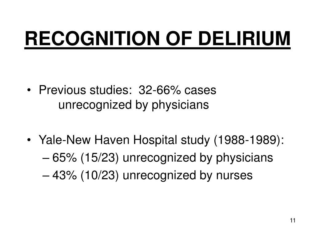 RECOGNITION OF DELIRIUM