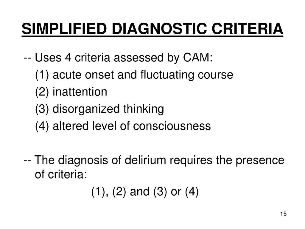SIMPLIFIED DIAGNOSTIC CRITERIA