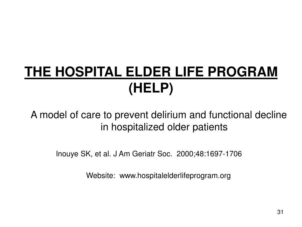 THE HOSPITAL ELDER LIFE PROGRAM