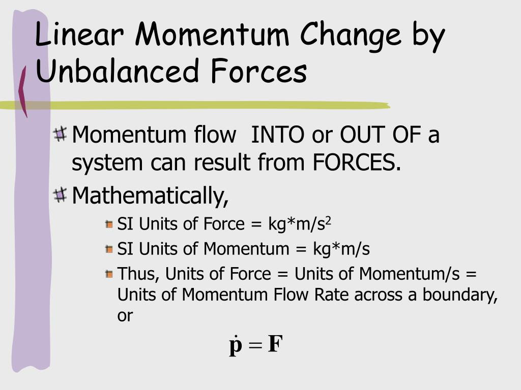 Linear Momentum Change by Unbalanced Forces