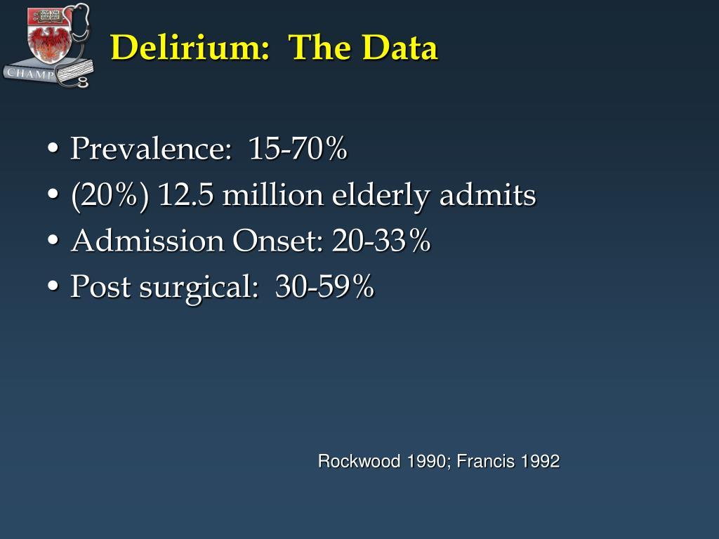 Delirium:  The Data