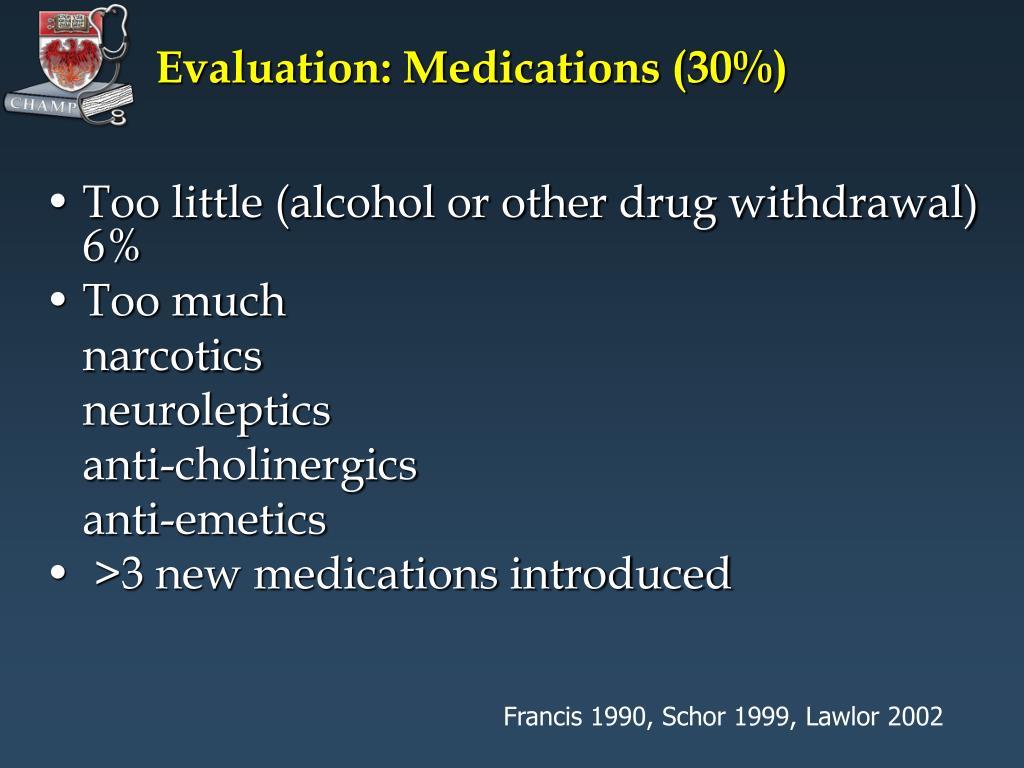 Evaluation: Medications (30%)
