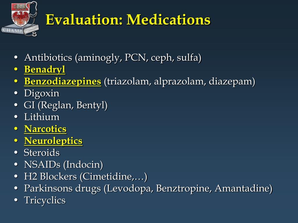 Evaluation: Medications