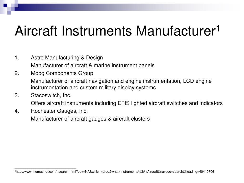 Aircraft Instruments Manufacturer