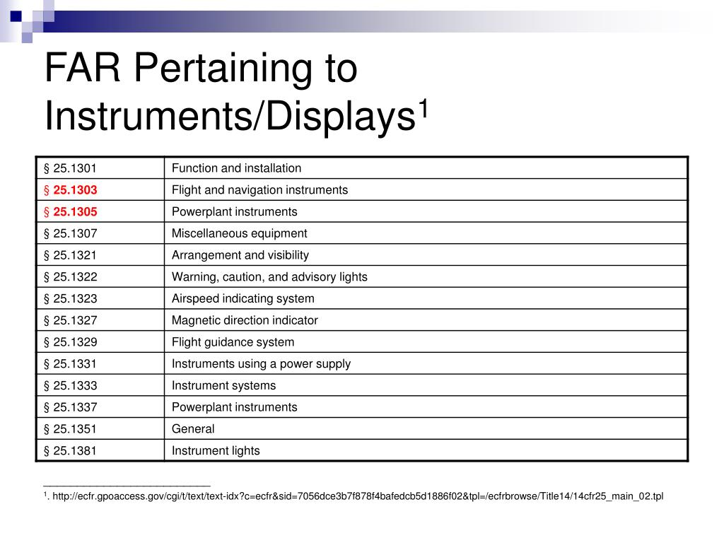 FAR Pertaining to Instruments/Displays