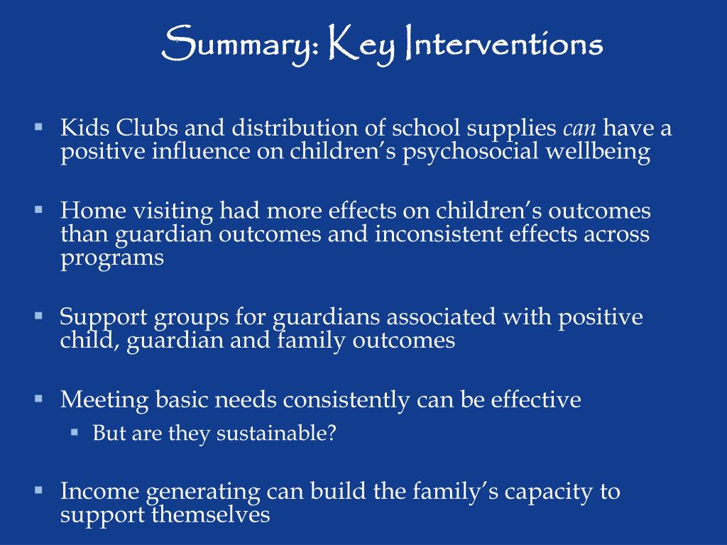 Summary: Key Interventions