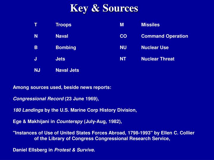 Key & Sources