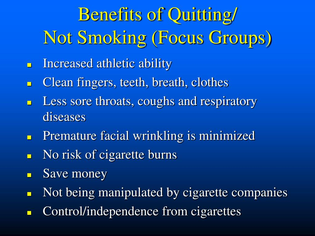 Benefits of Quitting/