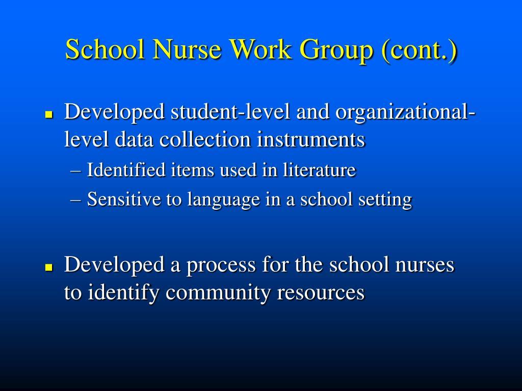 School Nurse Work Group (cont.)