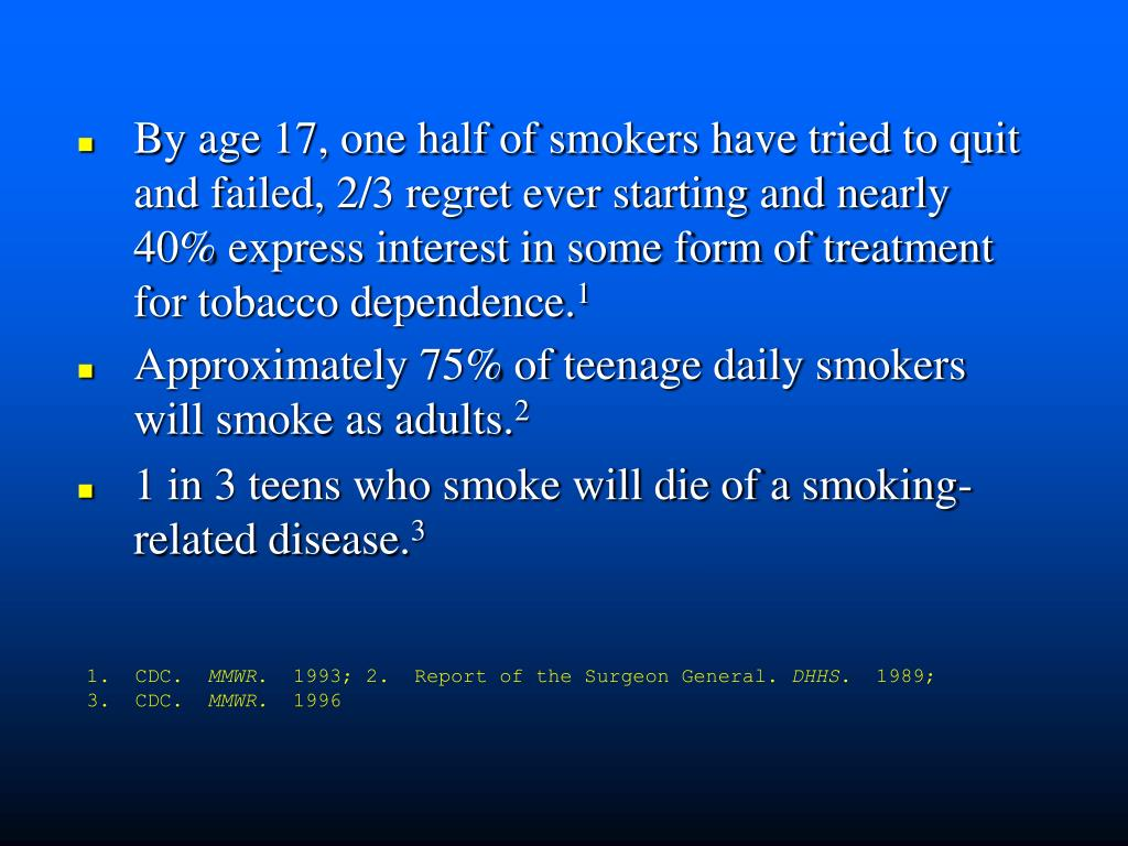 By age 17, one half of smokers have tried to quit and failed, 2/3 regret ever starting and nearly 40% express interest in some form of treatment for tobacco dependence.