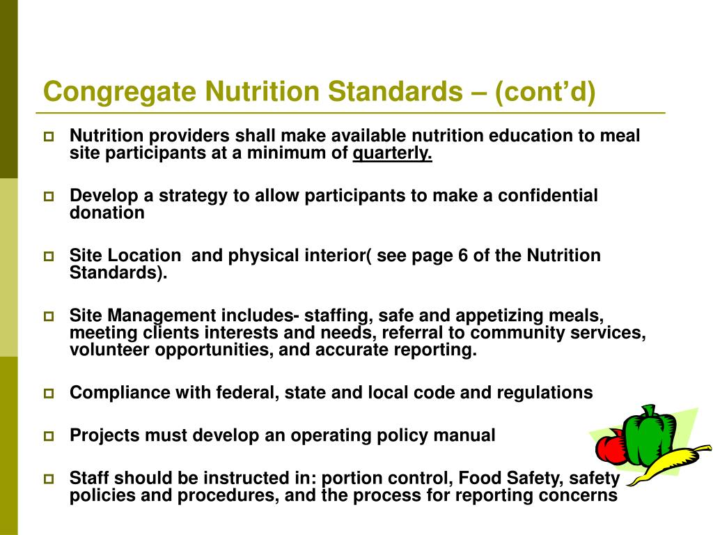 Congregate Nutrition Standards – (cont'd)