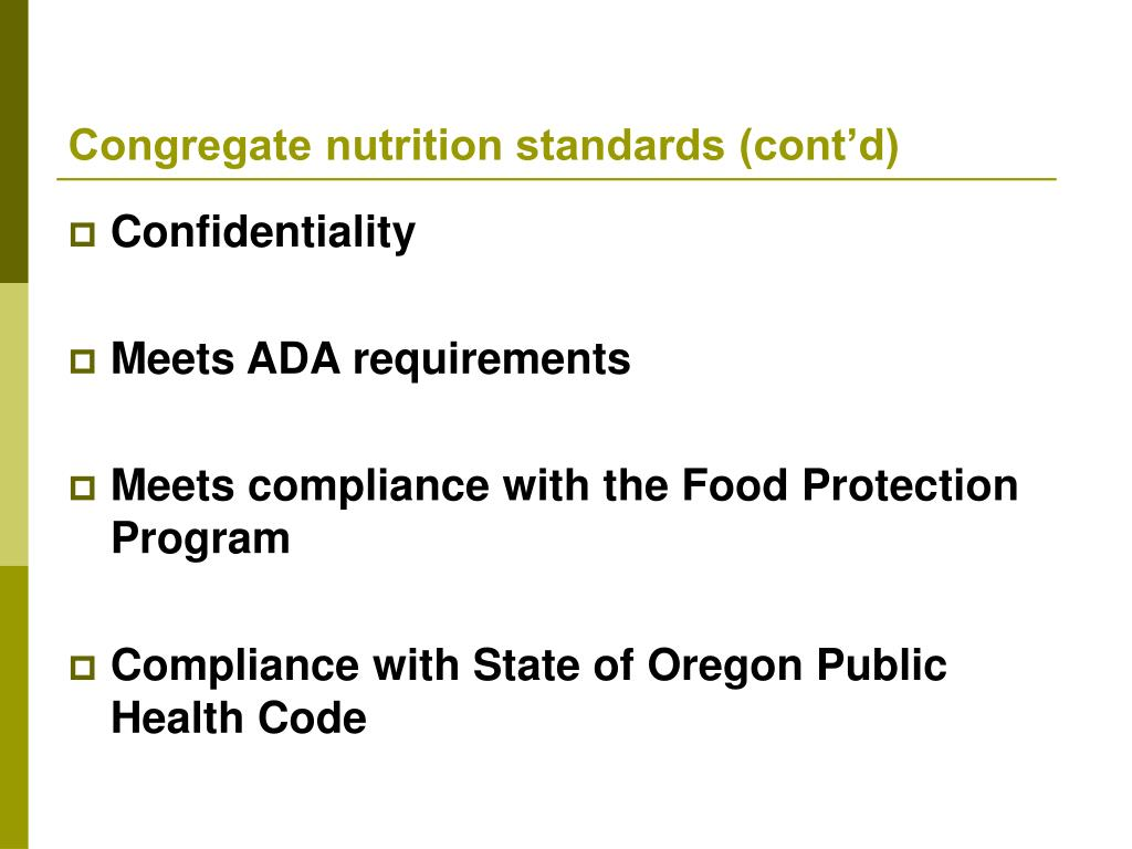 Congregate nutrition standards (cont'd)