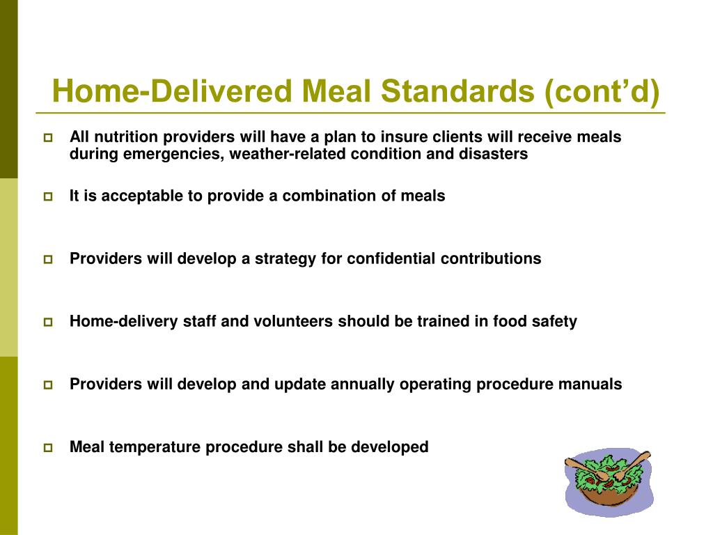 Home-Delivered Meal Standards (cont'd)