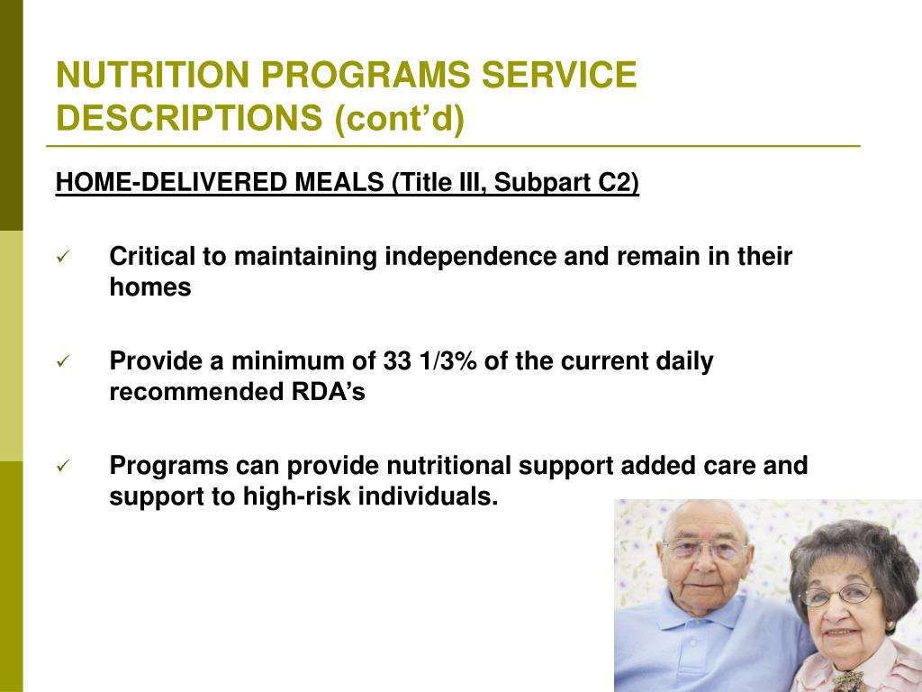 NUTRITION PROGRAMS SERVICE DESCRIPTIONS (cont'd)