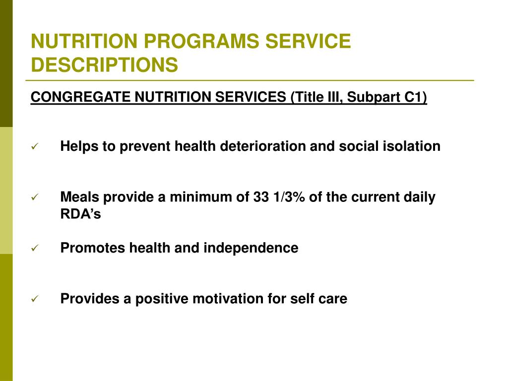 NUTRITION PROGRAMS SERVICE DESCRIPTIONS