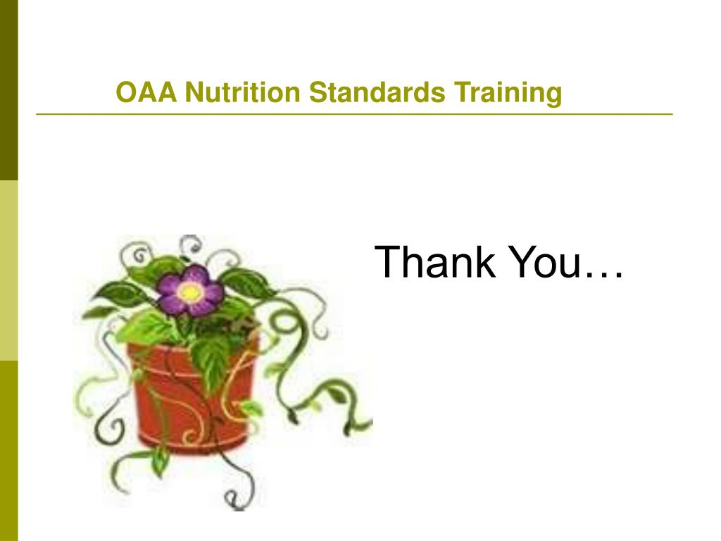 OAA Nutrition Standards Training