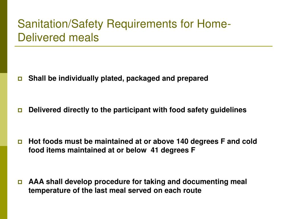 Sanitation/Safety Requirements for Home-Delivered meals