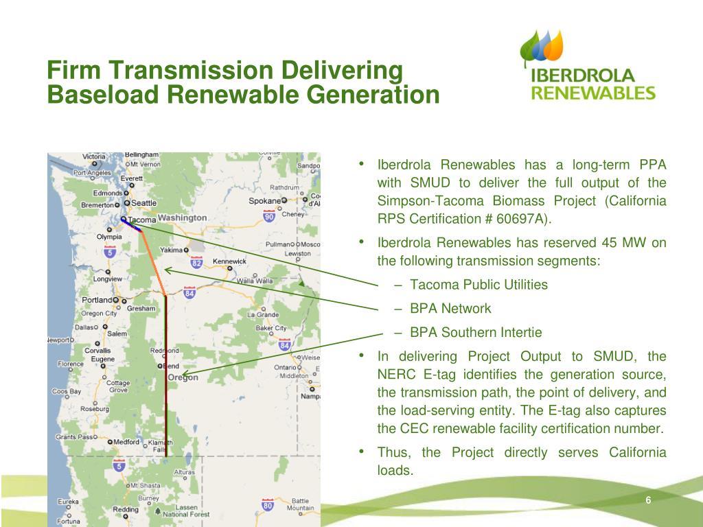 Firm Transmission Delivering Baseload Renewable Generation