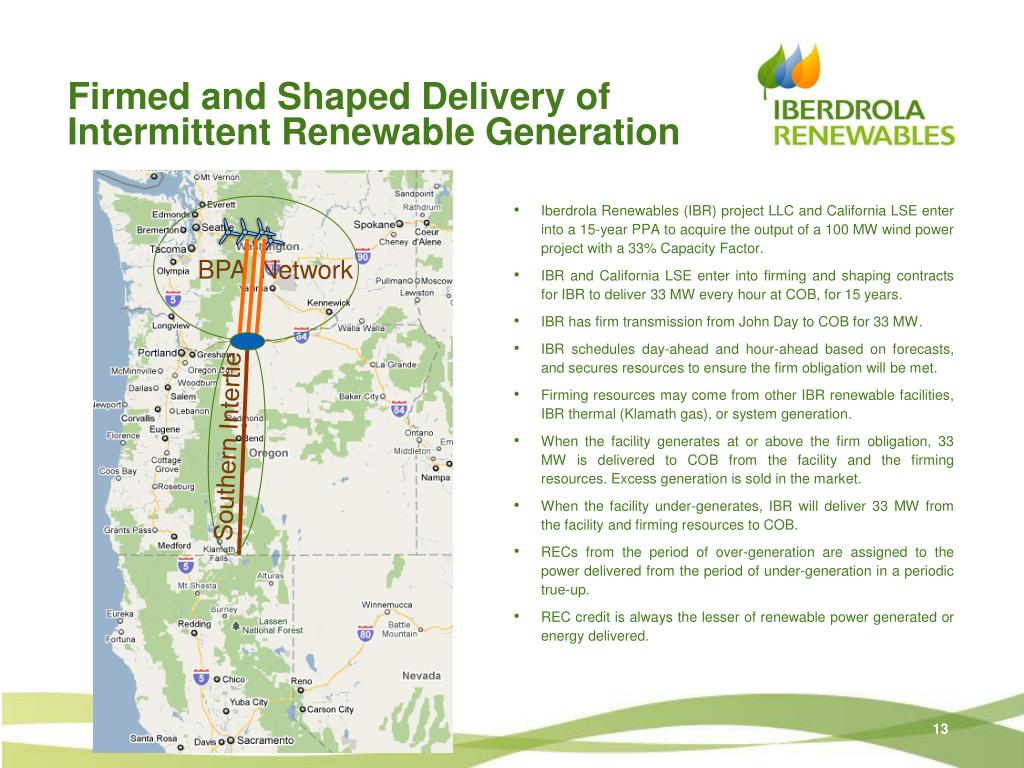 Firmed and Shaped Delivery of Intermittent Renewable Generation