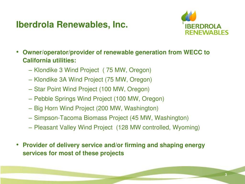 Iberdrola Renewables, Inc.