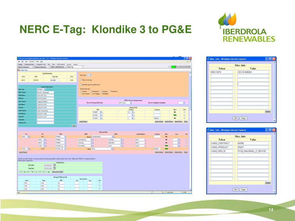 NERC E-Tag:  Klondike 3 to PG&E