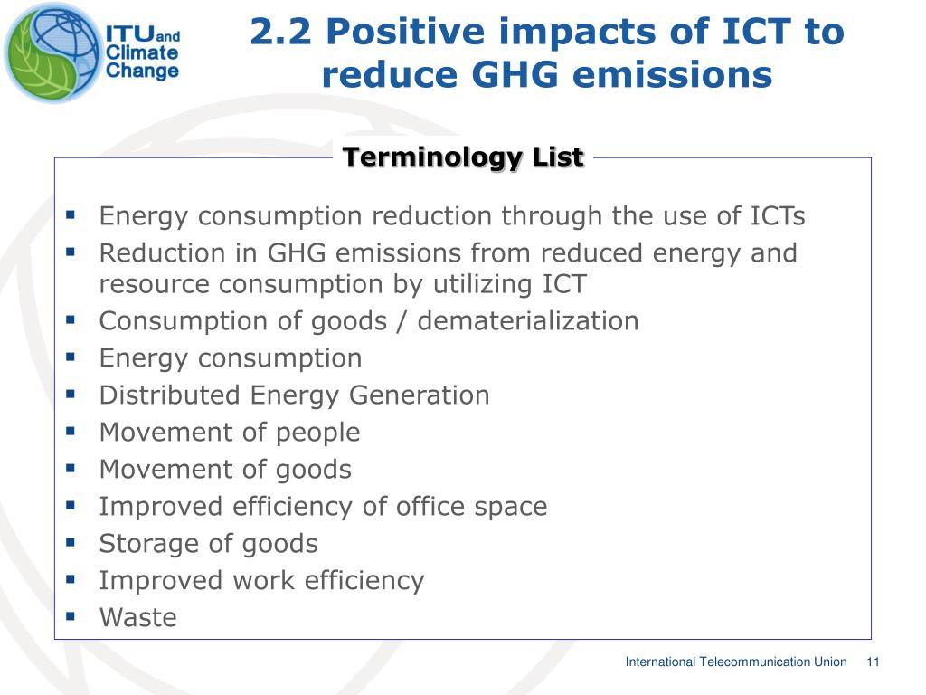 2.2 Positive impacts of ICT to reduce GHG emissions