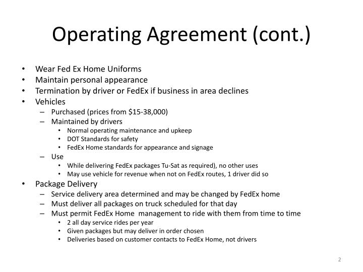 Operating agreement cont
