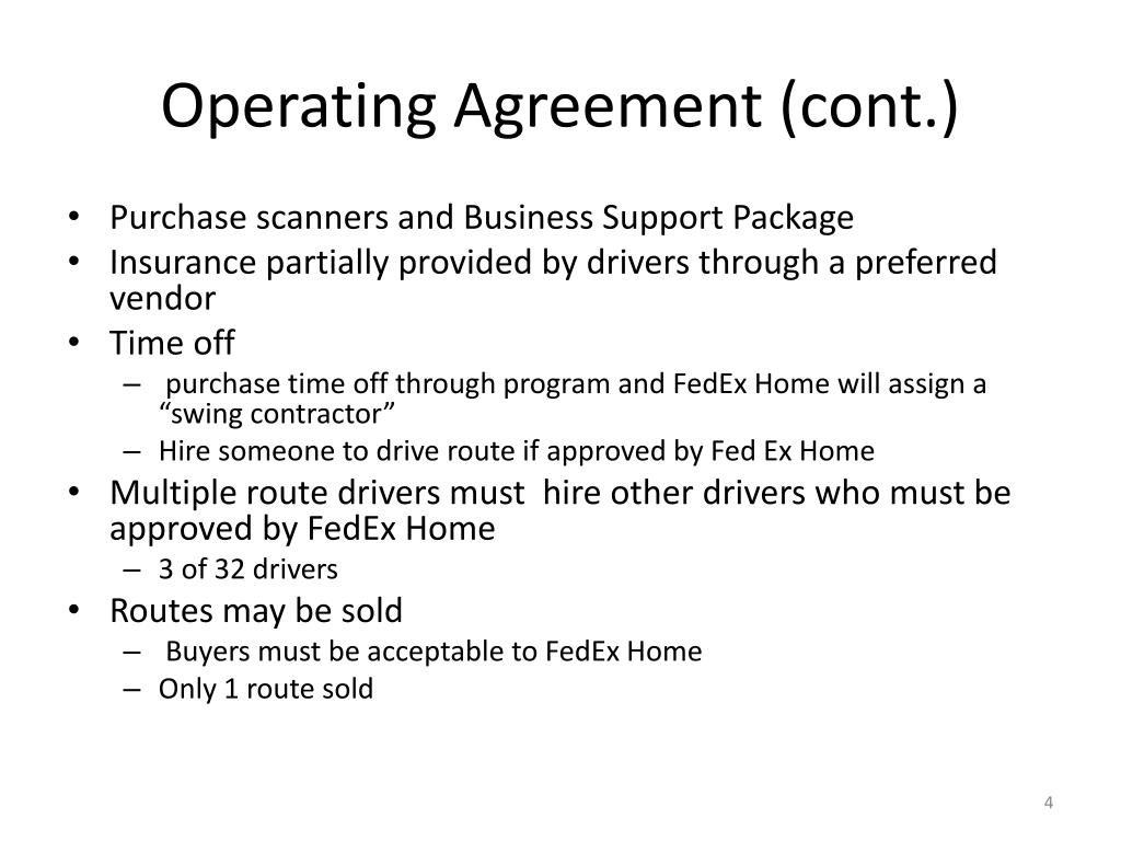 Operating Agreement (cont.)