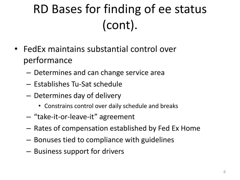 RD Bases for finding of ee status (cont).