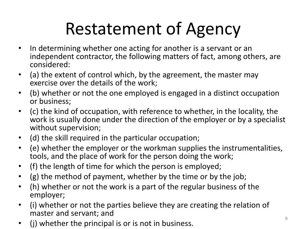 Restatement of Agency