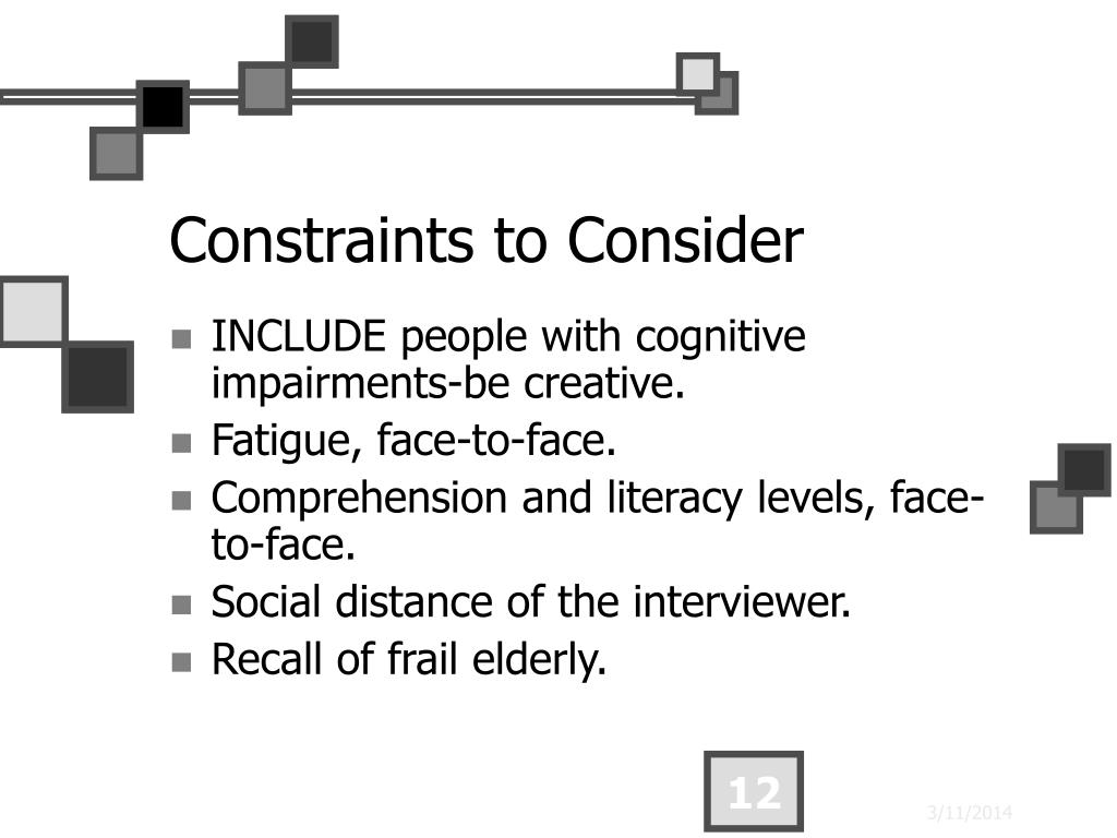 Constraints to Consider