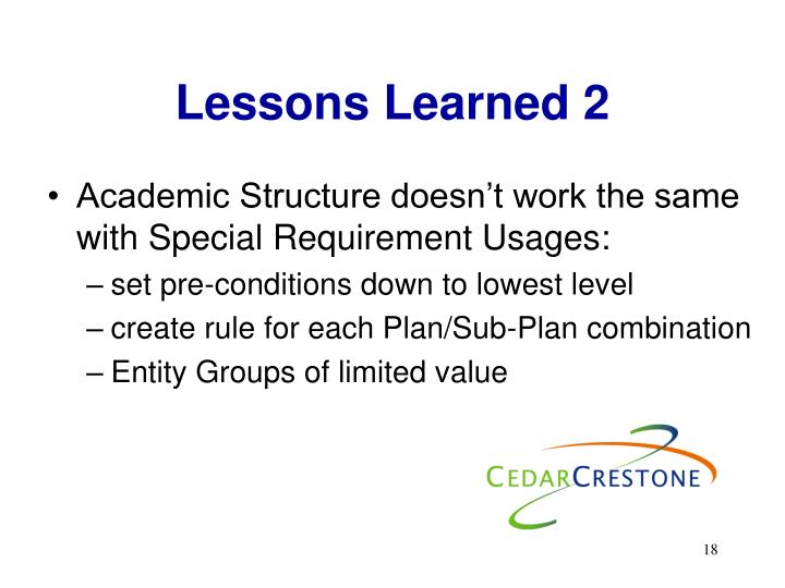 Lessons Learned 2