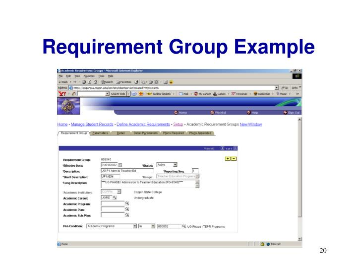 Requirement Group Example