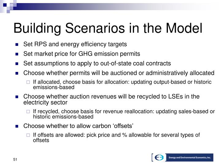 Building Scenarios in the Model