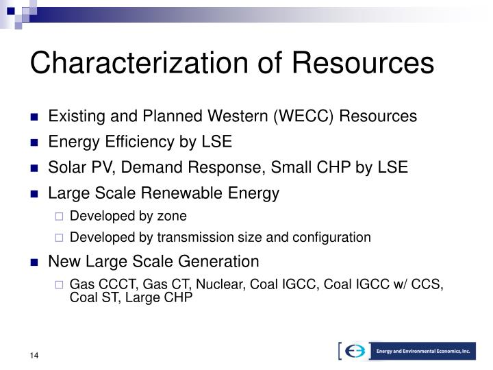 Characterization of Resources