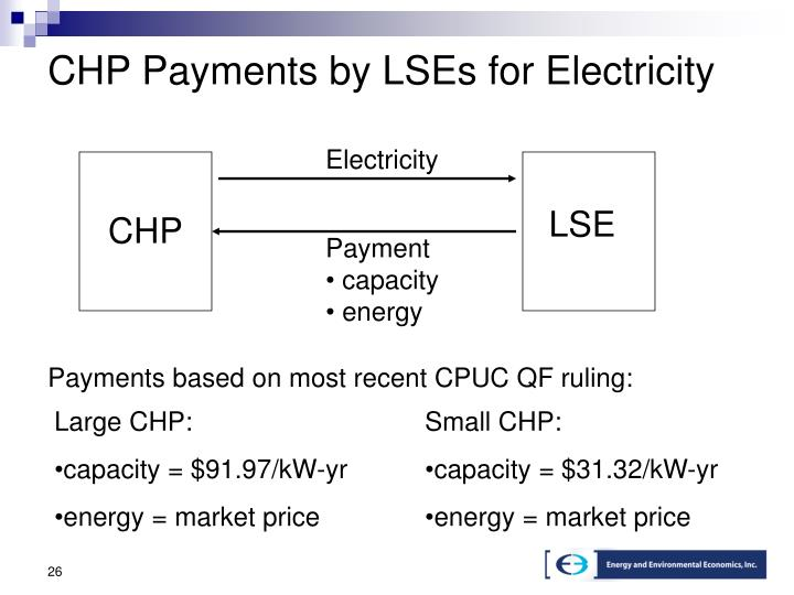CHP Payments by LSEs for Electricity