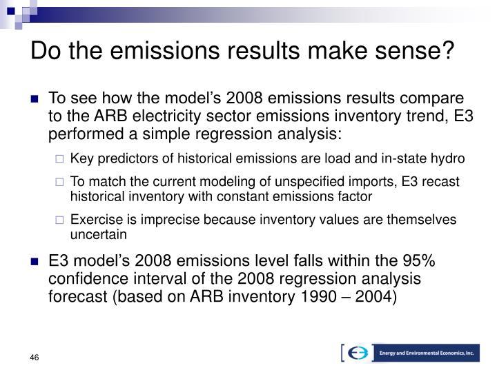 Do the emissions results make sense?