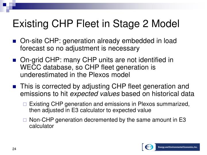 Existing CHP Fleet in Stage 2 Model