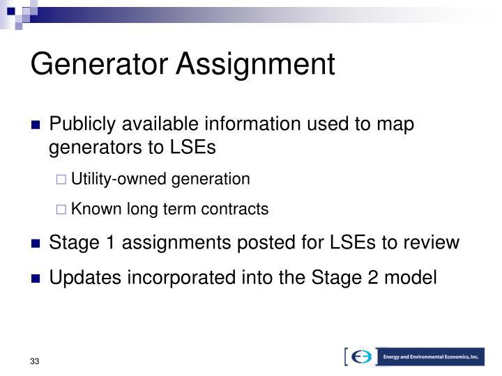 Generator Assignment
