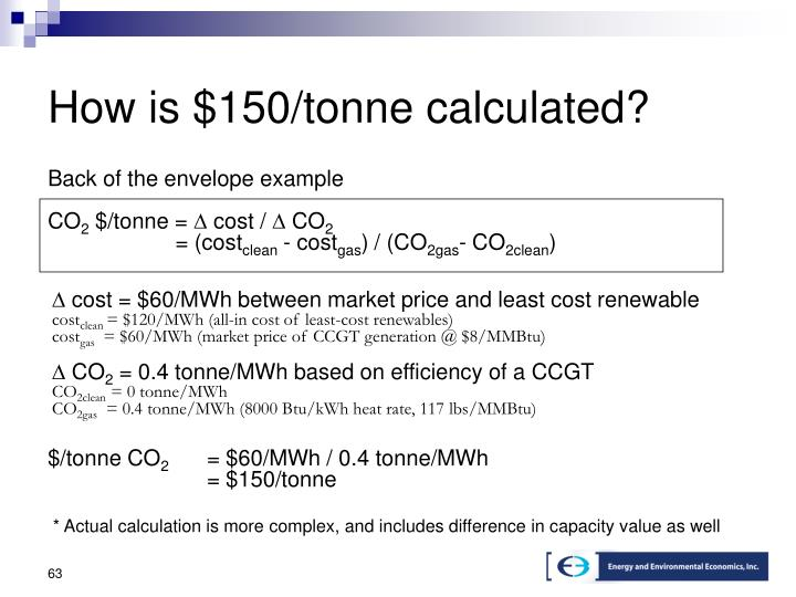 How is $150/tonne calculated?