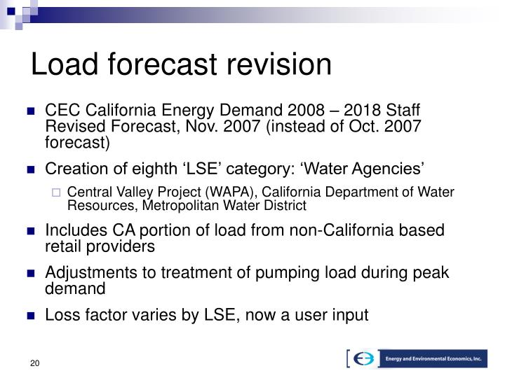Load forecast revision