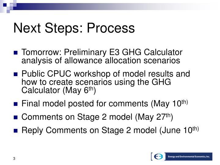Next Steps: Process